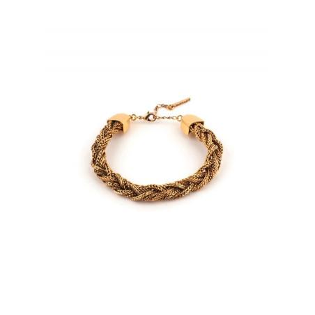 Feminine flexible plaited metal bracelet   gold-plated