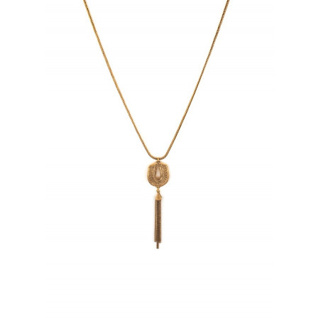 Feminine metal chain pompom pendant necklace | gold-plated