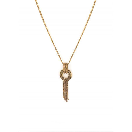 Glamorous metal pendant necklace l gold-plated