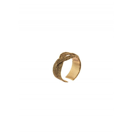 Poetic plaited metal adjustable ring | gold-plated