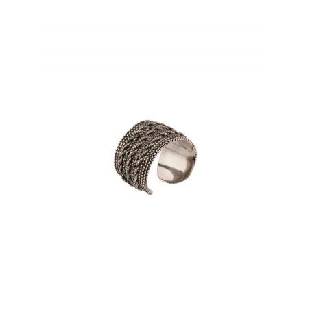 Bague ajustable moderne métal tressé | argenté