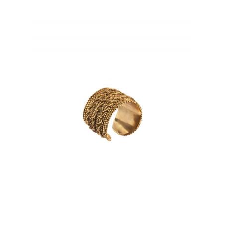 Bague ajustable tendance métal tressé | doré