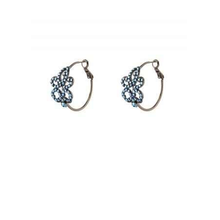 Boucles d'oreilles créoles percées raffinées cristal | bleu
