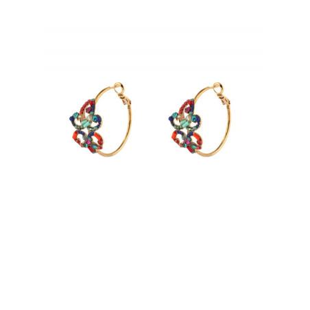 Boucles d'oreilles créoles percées festives cristal | multicolore