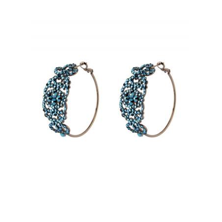 Glamorous crystal hoop earrings for pierced ears | blue