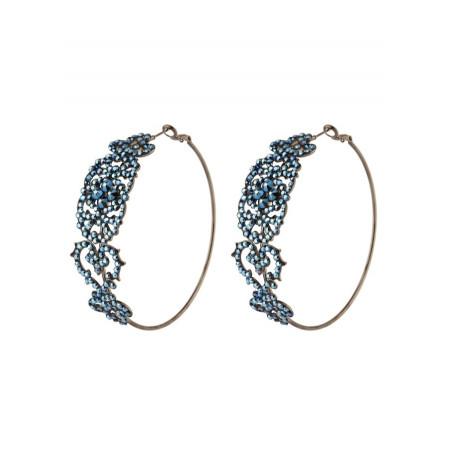 Sophisticated crystal hoop earrings for pierced ears | blue