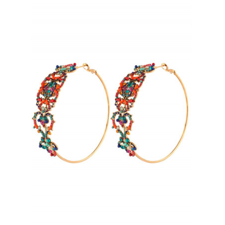 Modern crystal hoop earrings for pierced ears | multicoloured