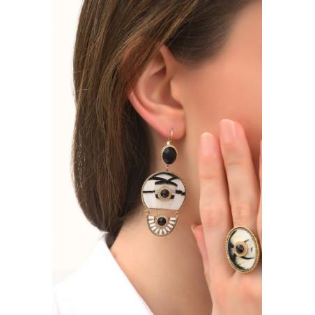 Boucles d'oreilles dormeuses poétiques plumes et cristal   noir75995