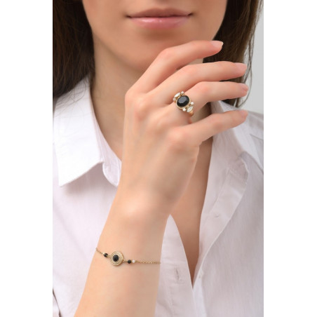 Elegant crystal, onyx and mother-of-pearl flexible bracelet | black75996