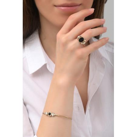 Bracelet jonc glamour cristal et perles de nacre   noir75998