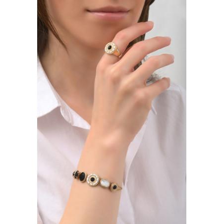 Bracelet mode nacre et cristaux   noir76000
