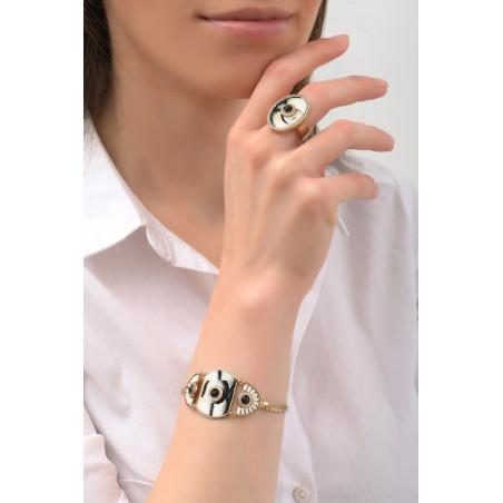 Bracelet tendance plumes et cristaux | noir76001