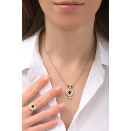 Collier pendentif poétique onyx, perles du Japon et nacre   noir76003