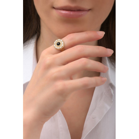 Graphic crystal and Japanese seed bead adjustable ring | black76006