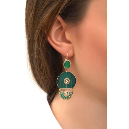 Boucles d'oreilles dormeuses arty malachite et cristal | vert76008