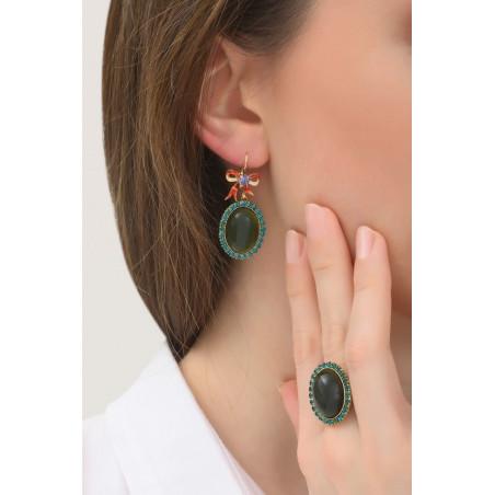 Boucles d'oreilles dormeuses mystérieuses ruban et cristaux   multicolore76015