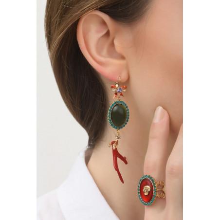 Boucles d'oreilles dormeuses baroques métal laqué et cristaux | multicolore76016