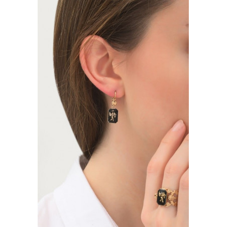 Boucles d'oreilles dormeuses baroques ange | noir76017