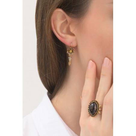 Boucles d'oreilles dormeuses glamour main strassée | noir76018