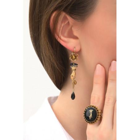 Boucles d'oreilles dormeuses tendances main strassée | noir76020