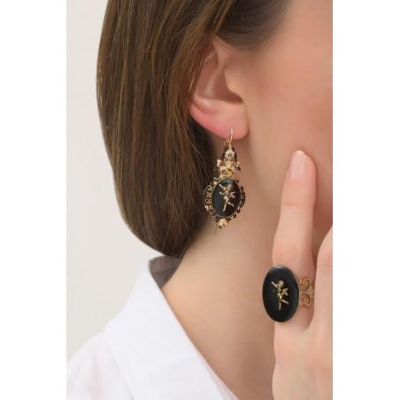 Boucles d'oreilles dormeuses romantiques ange et cristaux   noir76021