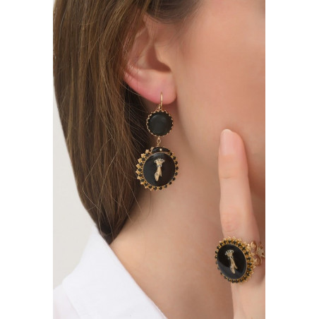 Rhinestone hand sleeper earrings l black76023