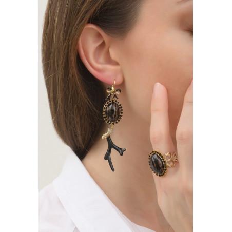 Boucles d'oreilles dormeuses élégantes métal laqué et cristaux | noir76024