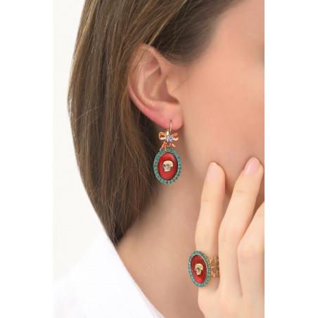 Boucles d'oreilles dormeuses modernes tête de mort et strass | multicolore76026