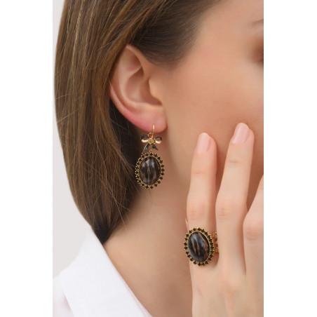 Boucles d'oreilles dormeuses élégantes strass et ruban | noir76028