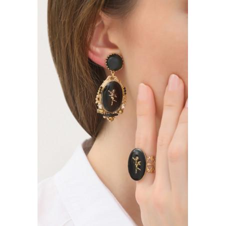 Boucles d'oreilles clips baroques médaillon ange | noir76030