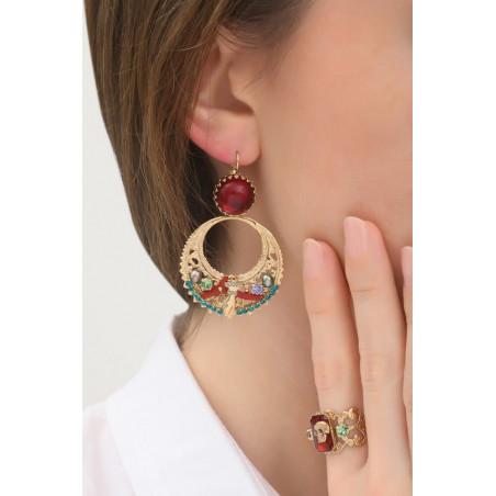 Boucles d'oreilles dormeuses poétiques strass et perles de rivière   multicolore76037