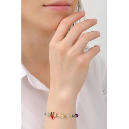 bracelet souple fantaisie perles et main strassée | multicolore76040