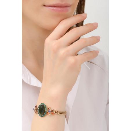 Bracelet souple glamour strass et rubans | multicolore76042