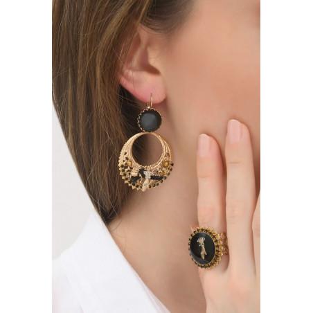 Boucles d'oreilles dormeuses modernes strass et métal ajouré | noir76048