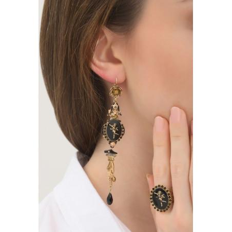 Boucles d'oreilles dormeuses romantiques ange et strass | noir76049