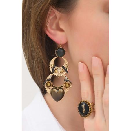 Boucles d'oreilles dormeuses mystérieuses cœur et cristaux | noir76050