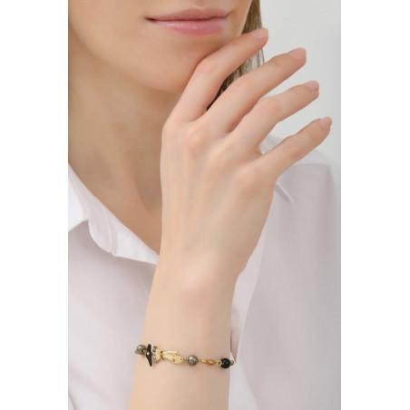 Bracelet souple féminin perles et main strassée | noir76051