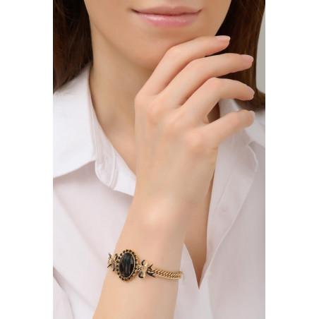 Bracelet souple sophistiqué rubans en métal laqué | noir76053