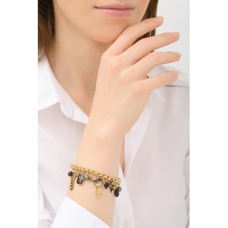 Bracelet souple mystérieux pampilles et perles | noir76054