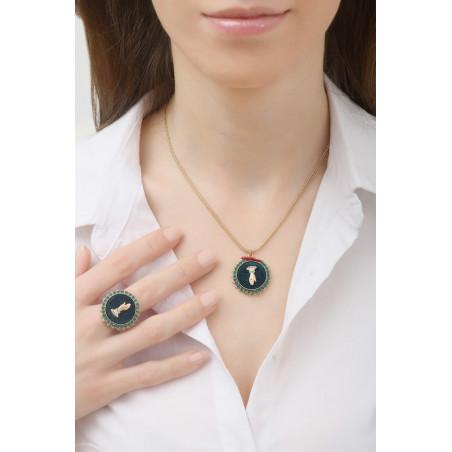 Collier pendentif rétro main strassée et velours | multicolore76058