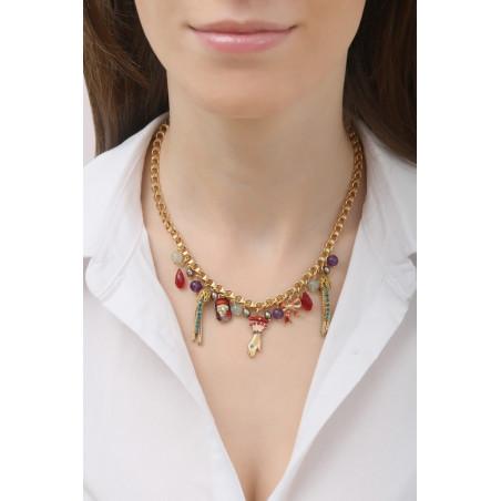 Collier pendentif baroque pampilles et pierres d'améthyste   multicolore76060