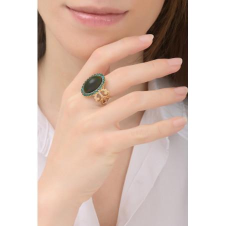 Bague ajustable sophistiquée cabochon et cristaux | multicolore76065