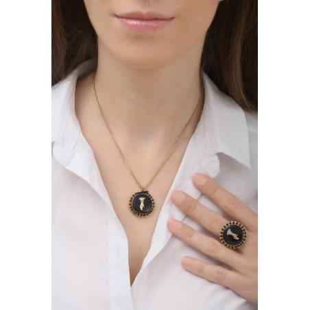 Collier pendentif féminin main strassée et cristaux | noir76069