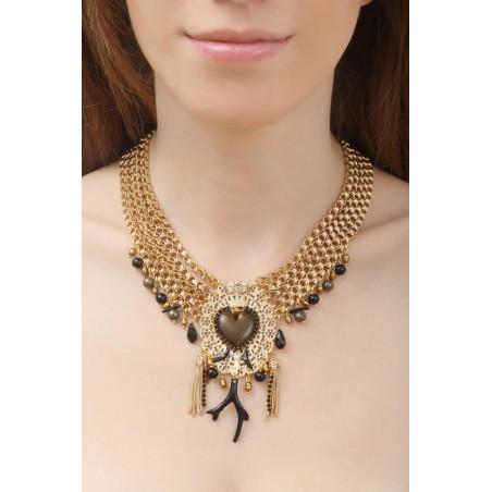 Collier plastron multi rangs mystérieux cœur et perles | noir76073