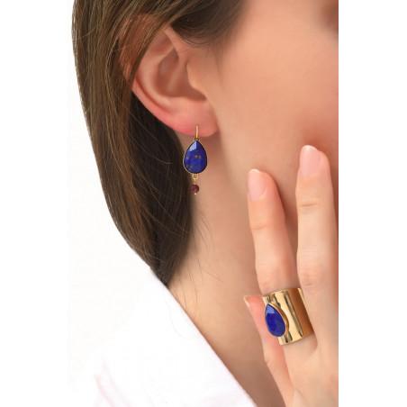 Boucle d'oreilles dormeuses baroques grenat | bleu76077