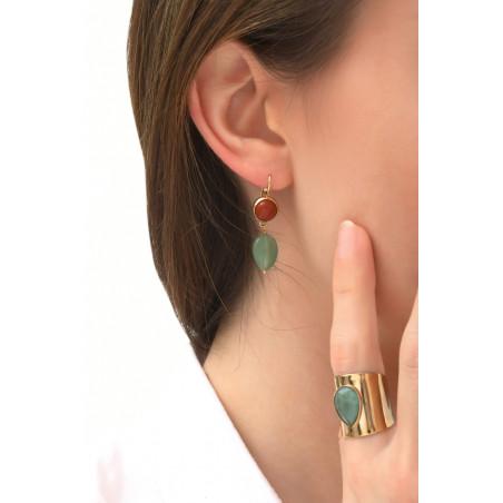 Fashionable aventurine and jasper sleeper earrings l multicoloured76078