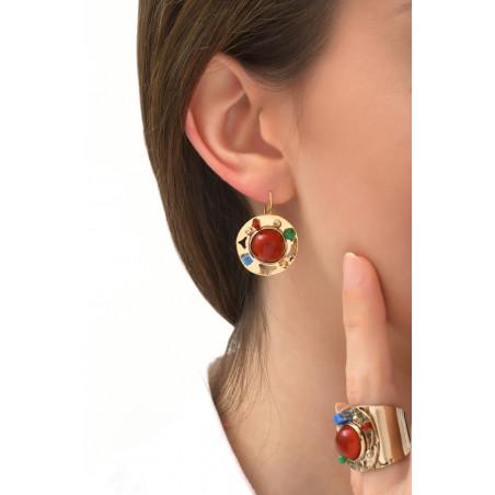 Boucles d'oreilles dormeuses fantaisies jade et lapis lazuli | multicolore76080