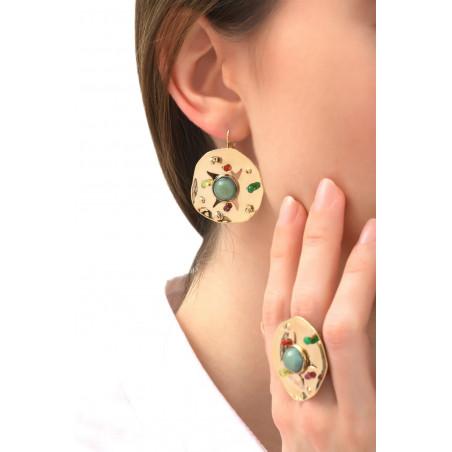 Boucles d'oreilles dormeuses arty cornaline et péridot | multicolore76081