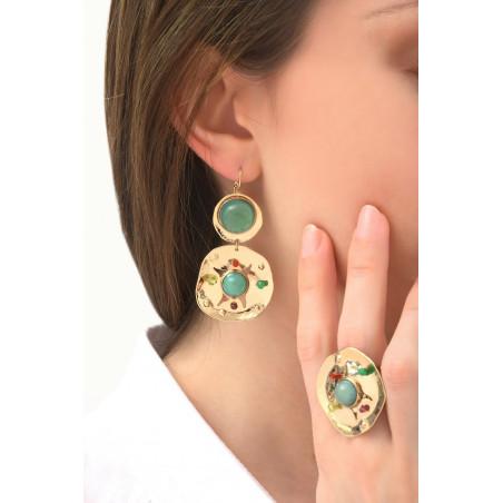 Boucles d'oreilles dormeuses mode péridot grenat et jade | multicolore76082