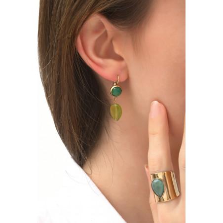 Refined sleeper earrings with jade and jasper l green76084